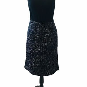 ANN TAYLOR Tweed Black & Purple Pencil Skirt Sz 10